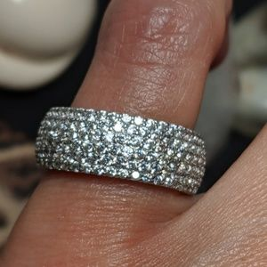 Vintage Wide Sterling Silver Pave CZ Band Ring 5